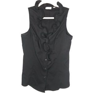 NY&Co Ruffle Sleeveless Button Down blouse
